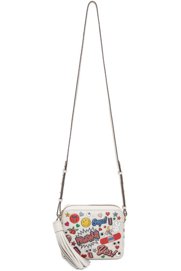 Anya Hindmarch - Ivory Leather Stickers Bag