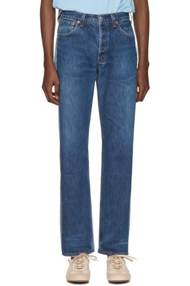 Bless - Blue Colorblock Pleatfront Jeans