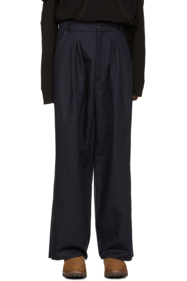 Bless - Navy Ultra-Wide Pleated Trousers