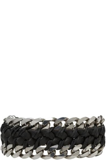 Emanuele Bicocchi - Black Braided Leather & Chain Bracelet