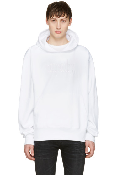Resort Corps - SSENSE Exclusive White Embroidered Empathy Hoodie