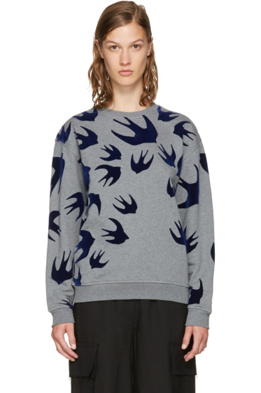 McQ Alexander McQueen - Grey & Navy Swallows Sweatshirt