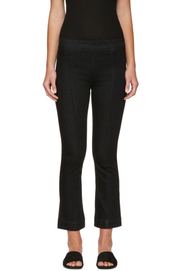 Helmut Lang - Black Pull-On Crop Flare Trousers