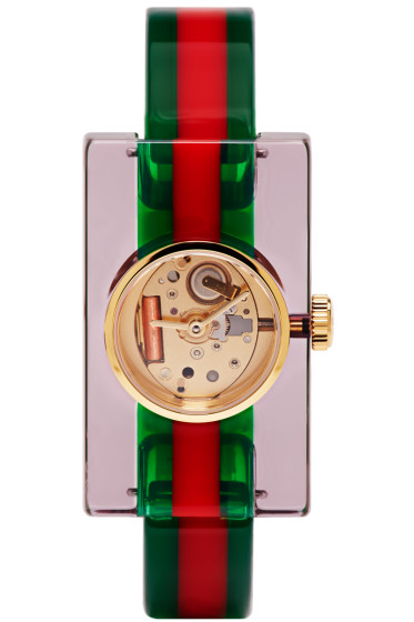 Gucci - Red & Green Plexiglass Skeleton Watch