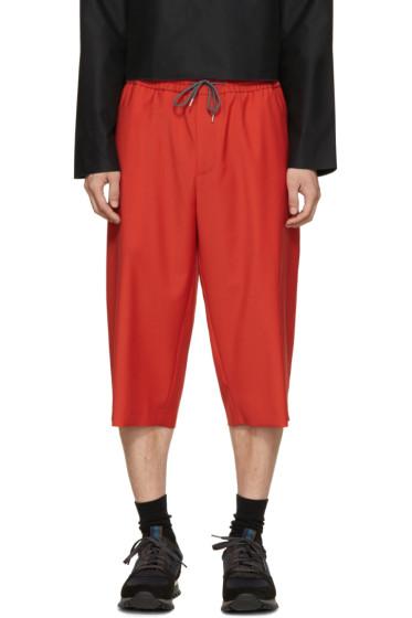 McQ Alexander McQueen - Red Wool Drawstring Shorts