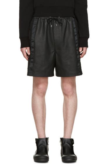 McQ Alexander McQueen - Black Leather Mix Shorts
