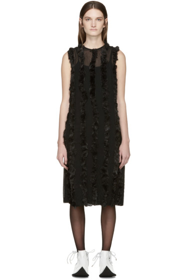 Comme des Garçons - Black Faux-Fur Trim Dress