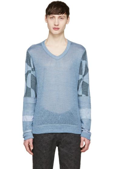 Junya Watanabe - ブルー ニット パッチワーク セーター