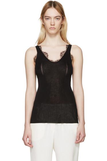 Lanvin - Black Knit Lace Tank Top
