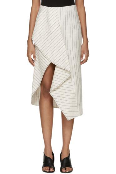 3.1 Phillip Lim - Off-White Pinstripe Linen Skirt