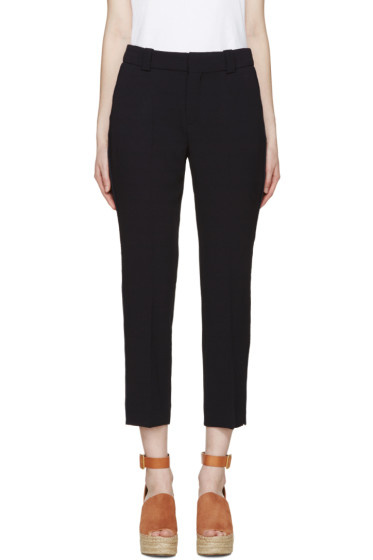 See by Chloé - Navy Crepe Slim Trousers