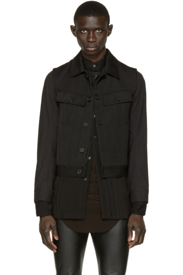 Ann Demeulemeester - Black Layered Biker Jacket