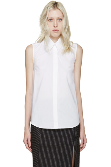 Dion Lee - White Poplin Sleeveless Shirt
