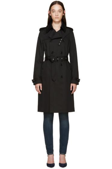 Saint Laurent - Black Gabardine Trench Coat