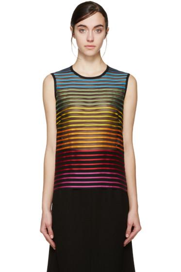 Mary Katrantzou - Black Rainbow Stripe Tank Top