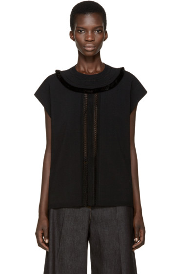 Valentino - Black Sleeveless Fringed Sweater