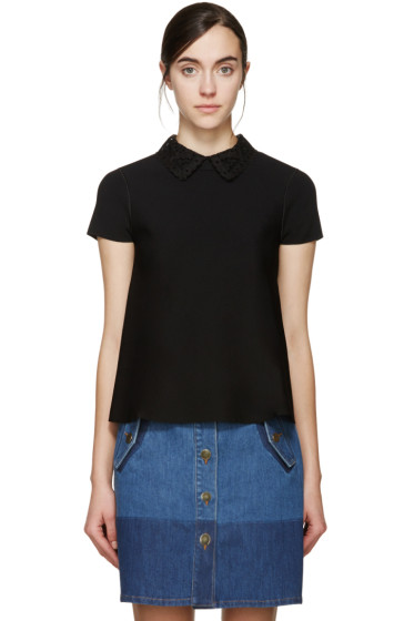 Valentino - Black Flared Lace Collar Top