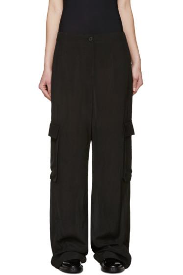 Yang Li - Black Woven Cargo Trousers