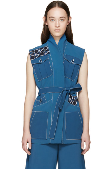 Peter Pilotto - Blue Embroidered Safari Vest