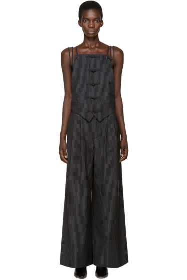 Facetasm - Black Wool Pinstripe Jumpsuit