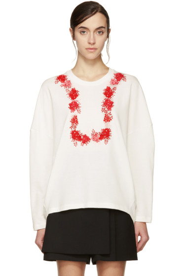 Giambattista Valli - White & Red Floral Sweatshirt