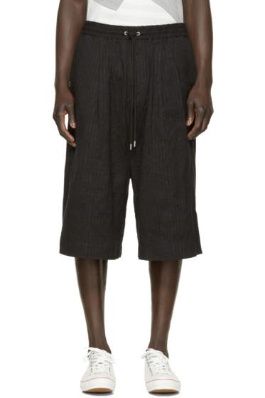 Miharayasuhiro - Black Paper Stripe Shorts
