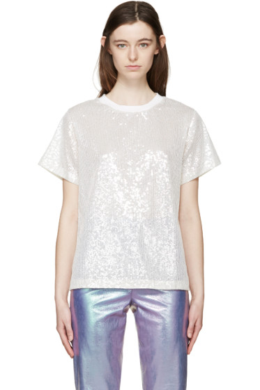 Ashish - Off-White Sequin Mesh T-Shirt