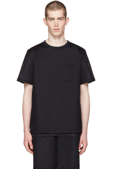 Undecorated Man - Navy Mesh Bubble T-Shirt