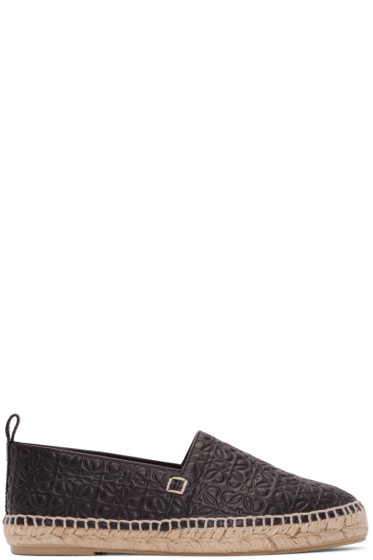 Loewe - Black Leather Anagram Espadrilles