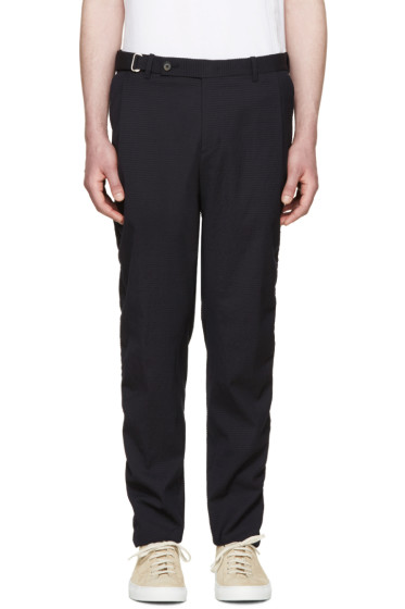 Wooyoungmi - Navy Wool Seersucker Trousers