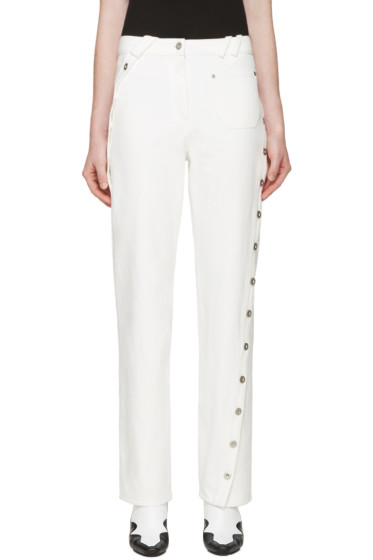 Courrèges - White Denim Twisted Button Trim Pants