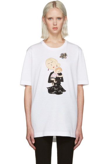 Dolce & Gabbana - White Embroidered T-Shirt