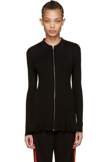 McQ Alexander McQueen - Black Ribbed Wool Pullover
