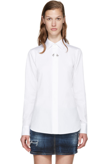 Dsquared2 - White Cotton Poplin Barbell Ring Shirt