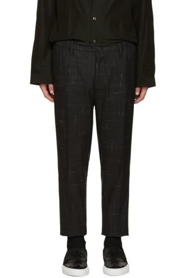 Dsquared2 - Grey Wool Check Dan Trousers