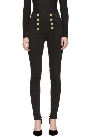 Balmain - Black High-Rise Buttoned Jeans