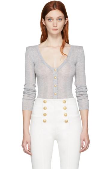 Balmain - Grey Wool Cardigan