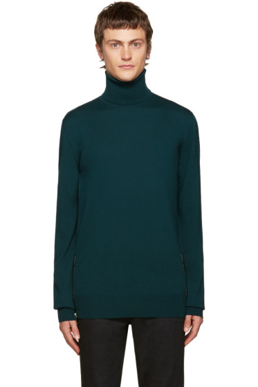 Balmain - Green Side Zip Turtleneck