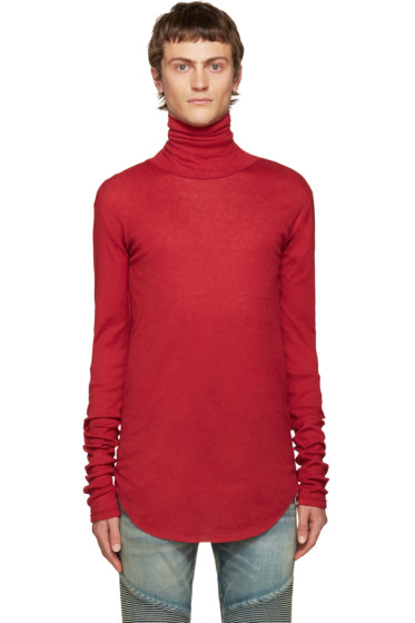 Balmain - Red Ribbed Turtleneck