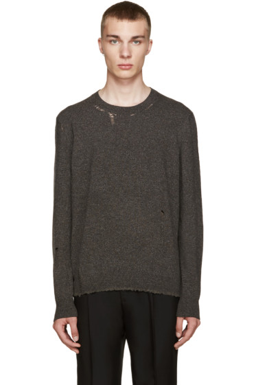 Lanvin - Grey Wool Distressed Sweater