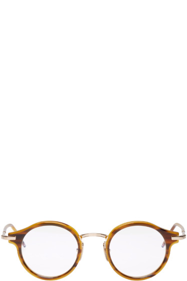 Thom Browne - Tortoiseshell & Gold Round Glasses
