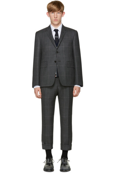 Thom Browne - Grey Hairline Overcheck Classic Suit