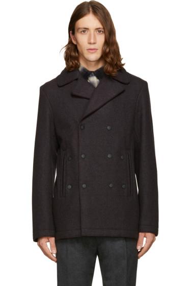 Kenzo - Grey Wool Raw Edges Coat