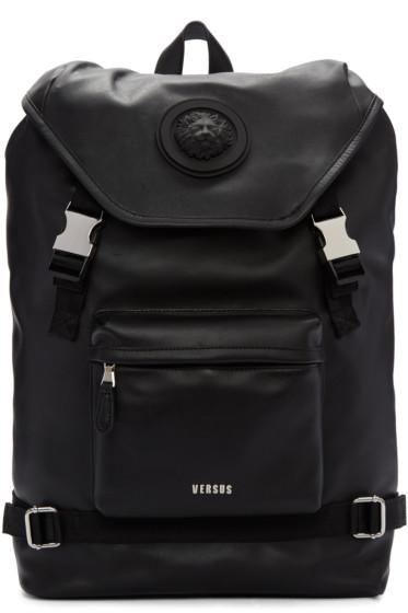 Versus - Black Leather Buckled Backpack