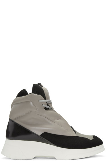 Julius - Taupe & Black Leather High-Top Sneakers