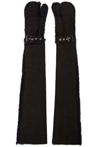 Sacai - Black Long Lux Shearling Gloves