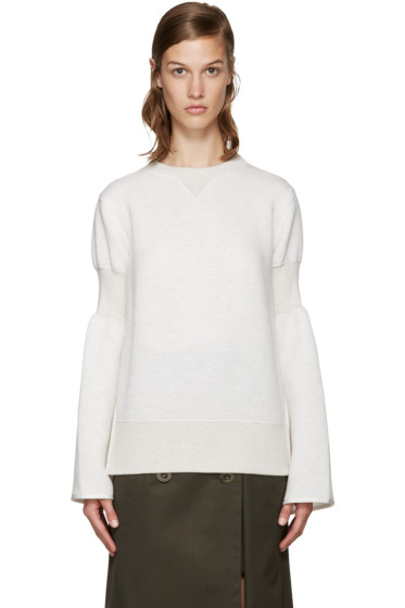 Sacai - Ecru Zippered Pullover
