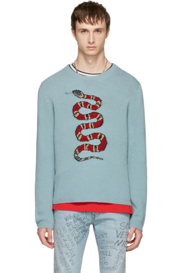 Gucci - Blue Snake & Lightning Sweater