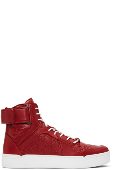 Gucci - Red GG Signature High-Top Sneakers