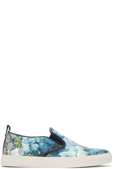 Gucci - Beige & Navy GG Supreme Floral Slip-On Sneakers
